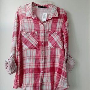 NWT Sanctuary Red Plaid Shirt